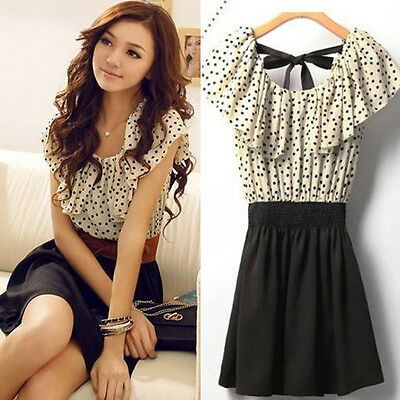 Womens Short Sleeve Chiffon Dots Polka Waist Dress Without Belt fashion sweet