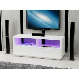White High Gloss LED Light TV unit with drawers Brand New in Box