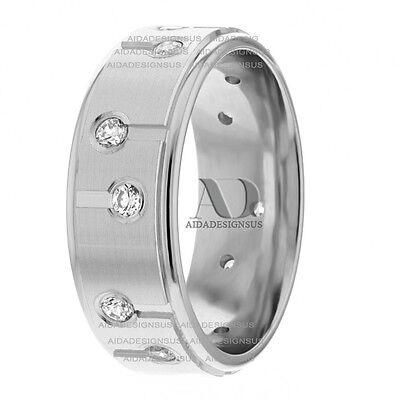 - 0.48Ctw 7mm Satin Finish 10K Gold Modern Design Diamond Wedding Band Ring
