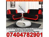 BRAND NEW PU Leather 3 and 2 Seater Sofa Suite in Black, Red and White colors