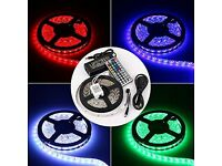 New 12V 5M RGB Colour Changing LED Strip Light Kit + Adapter, 300 x LEDs Waterproof Under Cabinet