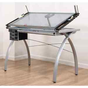 Glass Drafting Table and Chair for sale