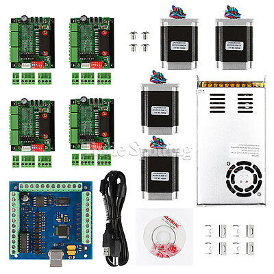 Cnc 4-axis Kit 2 With Tb6560 Motor Driver Usb Controller Card 270 Oz-in Nema23
