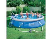 "Bestway Round Inflatable swimming Pool Package 15ft x 48"" used. A1 condition"
