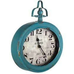 Teal Oval Metal Wall Clock with Top Handle Vintage Antique Style Home Decor