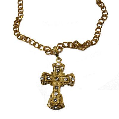 Kreuzkette gold mit Schmucksteinen, Priesterkostüm Bischofskostüm Zubehör Papst ()