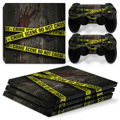Sony PS4 PlayStation 4 Pro Skin Sticker Screen Protector Set - Crime Scene Motif