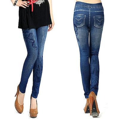Leggings effetto jeans donna leggins fantasia sexy pantaloni pantacollant DS212