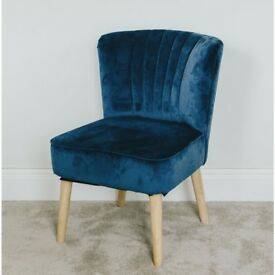 NEW velvet occasional chairs in £79.99each in NAVY TEAL & GREY {RED NOW ONLY £55.99}