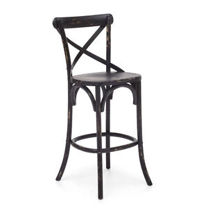 WOODEN CROSS BACK BAR STOOL ON CLEARANCE