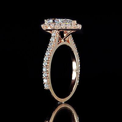 1.71ct GIA Pear Shape Diamond Pave Engagement Ring 18K Rose Gold I/VVS2 2