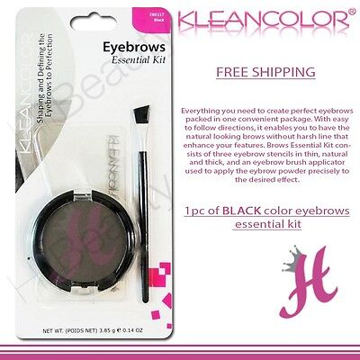 KleanColor Brows Essential Kit 3 Stencils 1 Black Eyebrow Powder 1 Brush