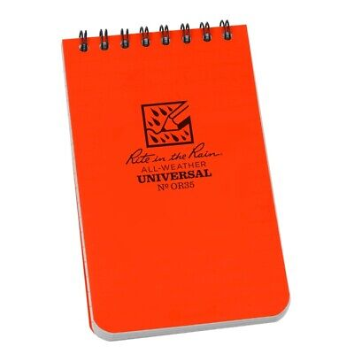 Rite In The Rain Or35 All-weather Universal Spiral Notebook Orange 3 X 5