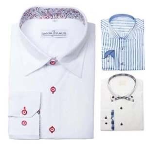 Mens-Designer-Italian-Formal-Slim-Fit-Dress-Shirt-Paisley-Contrast-Collar-M-L-XL
