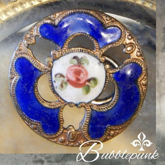 Antique Brass Champleve Enamel Floral Shank Button ~ Estate Collection Buy-out