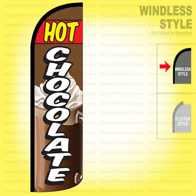 Hot Chocolate - Windless Swooper Flag 3x11.5 Ft Tall Feather Banner Sign Q