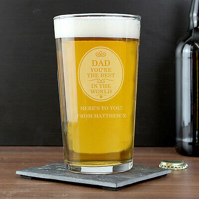 Personalised BEST IN THE WORLD Pint Beer Glass - Birthday Gift for Him DAD (The Best Gift For Him)