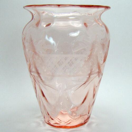 Pink Art Glass Vase with Cut Floral Design - 1920
