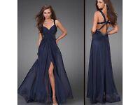 Full length Dark Blue Chiffon Prom evening dress/ Ball gown Size 10-12
