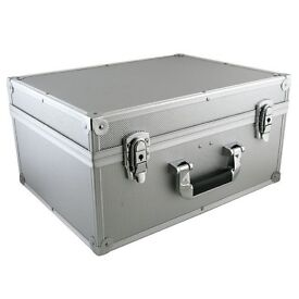 """** NEW ** Silver Lockable 7"""" Metal Aluminium Storage Box For 200 Singles With Carry Handle"""