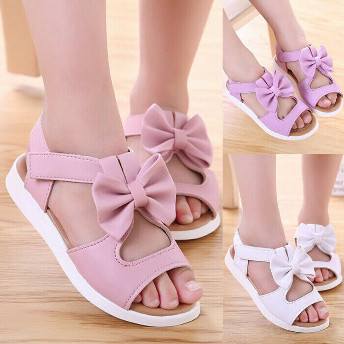 Summer Kid Toddler Baby Girl Soft Sandals Leather Bow Casual