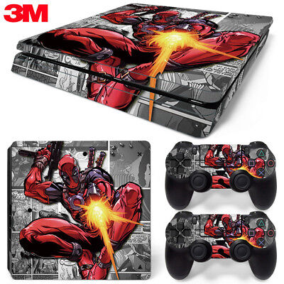PS4 Slim Playstation 4 Console Skin Decal Sticker Deadpool Comics Custom Design