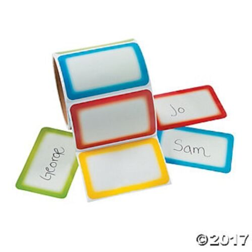 Multi Color Name Tags Roll of 100 Stickers Organizing Labels Adhesive Field Trip