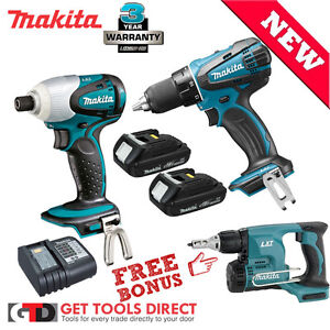 Makita 18v LXT Li-ion 3 Piece Cordless Combo Kit 3 Year Warranty BDF456 Drill