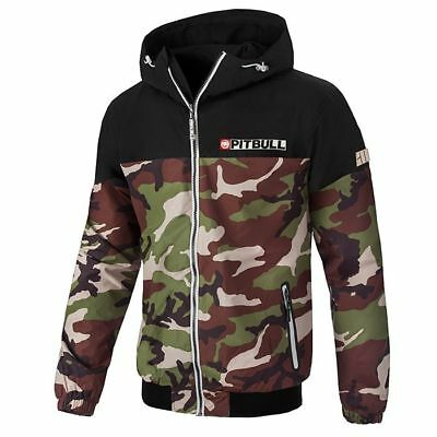 Pit Bull West Coast Jacket Homelands 2 Woodland Camo Windbreaker Pitbull Jacke Camo Weste Kapuze