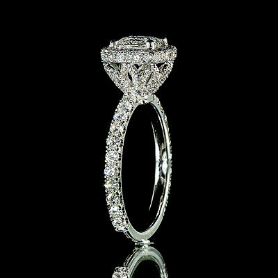 1.90ct Princess Diamond Pave Halo Flower Engagement Ring I/VS2 GIA Certified 2