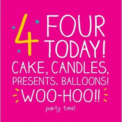 Happy Jackson Card: HAPPY BIRTHDAY GIRL PINK AGE 4 THREE - New Cello POST DAILY