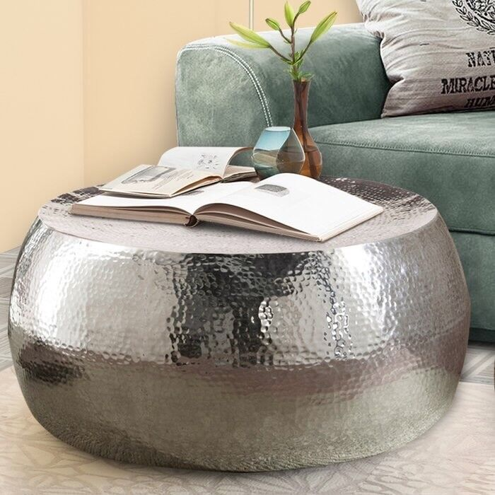Round Silver Moroccan Style Coffee Table