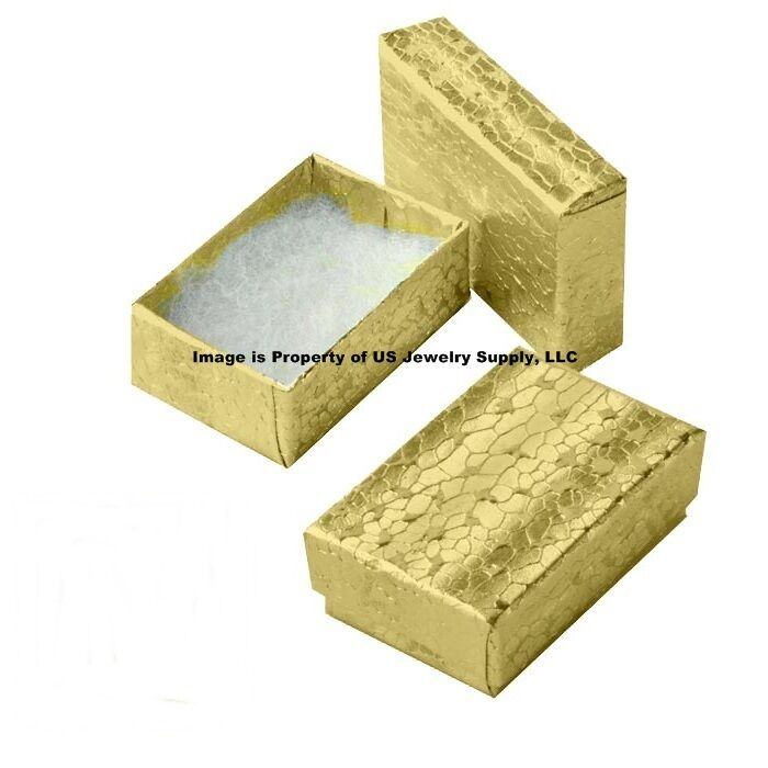 """Cotton Filled Jewelry Gift Boxes Gold 100 Pack 2 1/8"""" x 1 1/2"""" x 5/8"""" Small Size"""
