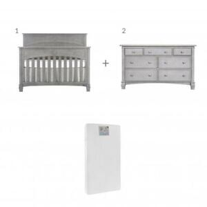 Trio Santa Fe: Lit de bébé convertible 4 en 1 + Bureau double + Matelas Peaceful Night
