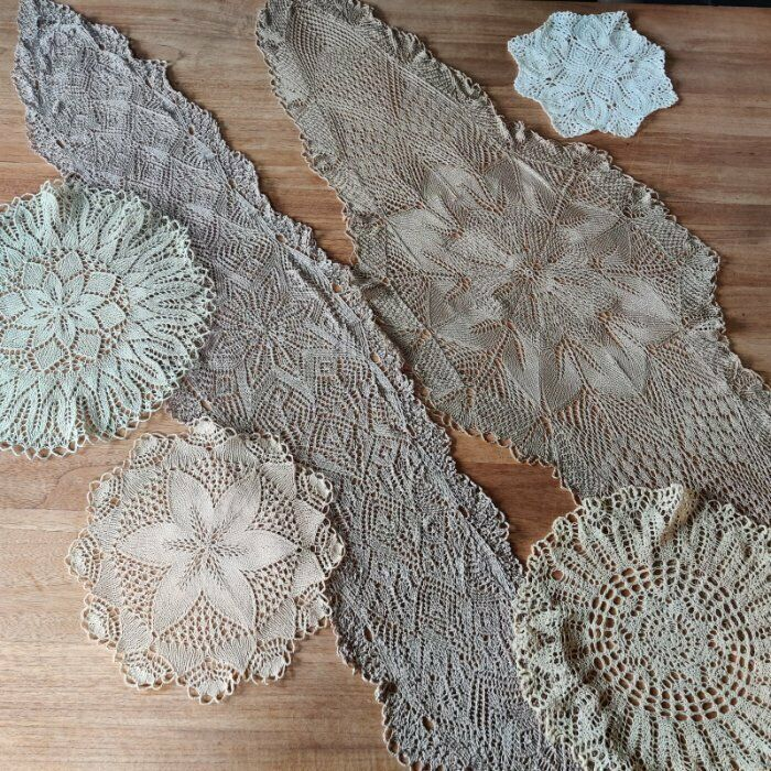 Lot Antique / Vintage handmade Knitted lace doilies, runner, Knitting (a)