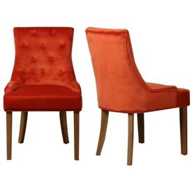 New Kaylee Burnt Orange Pair of Velvet Dining Chairs with Oak Legs