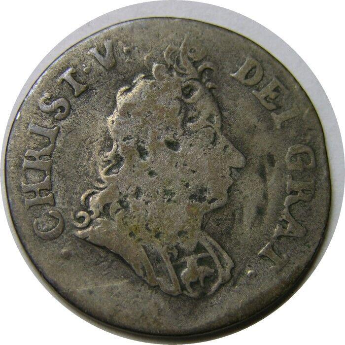 elf Denmark 8 Skilling 1695  Silver    Christian V  DEI GRAT Variety  RARE