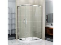REDUCED TO CLEAR 1200 x 900 Offset Quadrant Enclosure Silver Frame