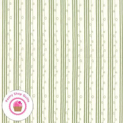 Moda  MISTLETOE LANE 2887 14 Sage Green Stripe BUNNY HILL Quilt Fabric CHRISTMAS