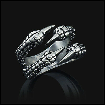 Stainless Steel Gothic Jewelry Dragon 4 Claw Ring punk goth eagle demon metal ss - Dragon Ring Jewelry