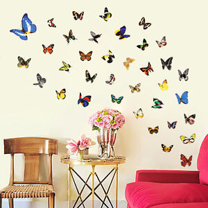 80 Pcs Colorful Butterfly Wall Stickers Decal Removable Art Vinyl Decor Home Ebay
