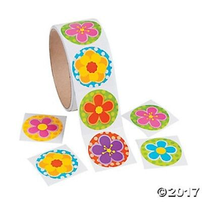 Roll of 100 Flower Spring Stickers Kids Crafts Birthday Party Favors - Kids Spring Crafts