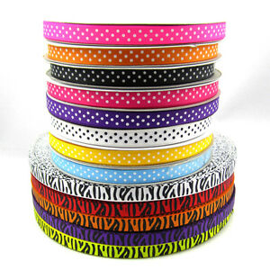 NEW-10-Yards-3-8-10mm-Widths-Printed-Satin-Grosgrain-Ribbon-many-Colours