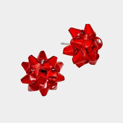 Red Metal Christmas Gift Bow Stud Earrings  Red Christmas Earrings