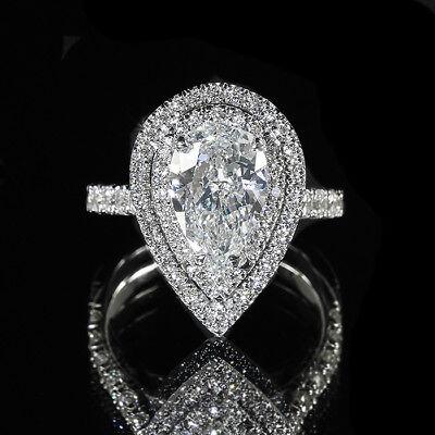 3.86ct GIA Pear 18K Double Halo Diamond Pave Engagement Ring E/VS2 (2166304251)