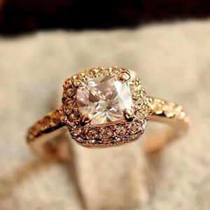 1PC Princess Square Diamond Ring Luxury Elegance Fashion Wedding Ring Nice item