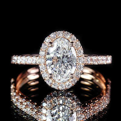 1.50ctw GIA Certified Oval Diamond 18K Rose Gold Pave Halo Engagement Ring D/VS2