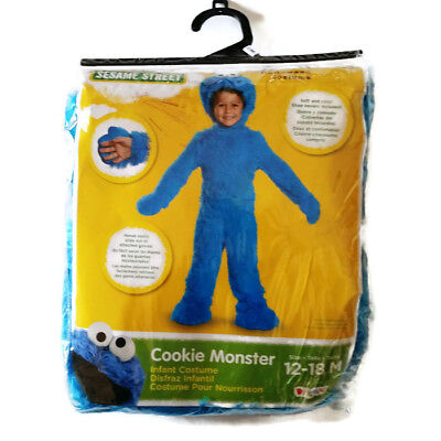 Sesame Street Cookie Monster Infant Toddler Costume Sz 12 to 18 Months Disguise - Infant Cookie Monster Costume