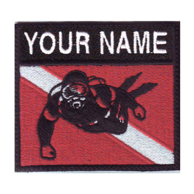 SCUBA DIVER FLAG CUSTOM BADGE EMBROIDERED PATCH