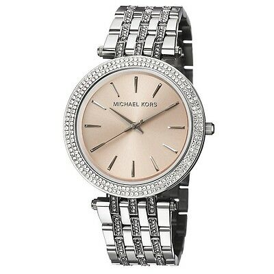 New Michael Kors Darci Silver Crystal Rose Gold Stainless MK3218 Women Watch